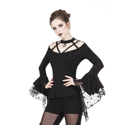 Women's Goth Criss Cross Lace Flare Sleeved T-shirts-Punk Design
