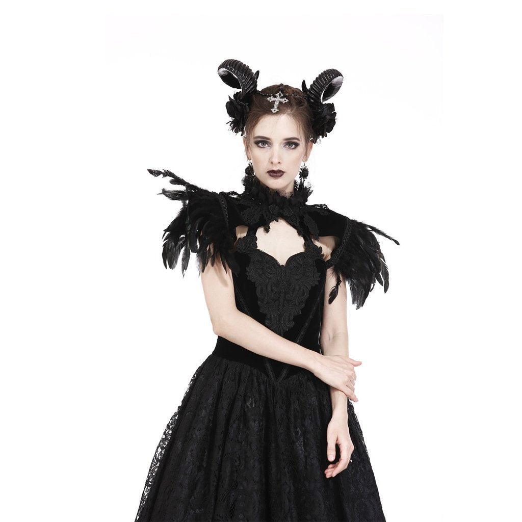 Damen Goth Feather Velet verschönert Collar-Punk Design