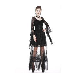 Damen Goth Floral Stickerei Translucent Lace Maxi Rock-Punk Design