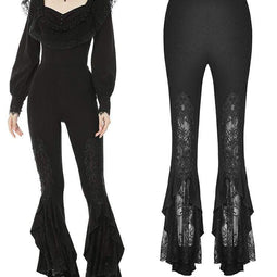 Darkinlove Women's Goth Floral Lace Bell-bottoms Leggings