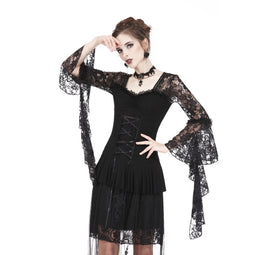 Women's Goth Front Lace-up Flare Sleeved Cutout Back Ruffles Lace Tops-Punk Design