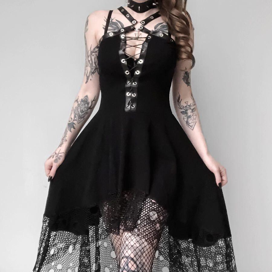 Women's Goth Halterneck High-low Little Black Dress-Punk Design