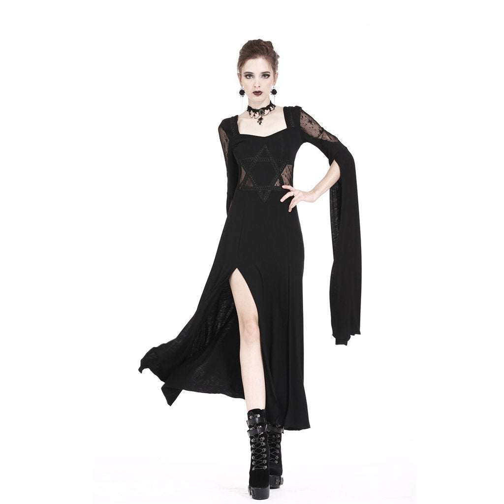 Damen Goth High Slit Maxi Dress-Punk Design
