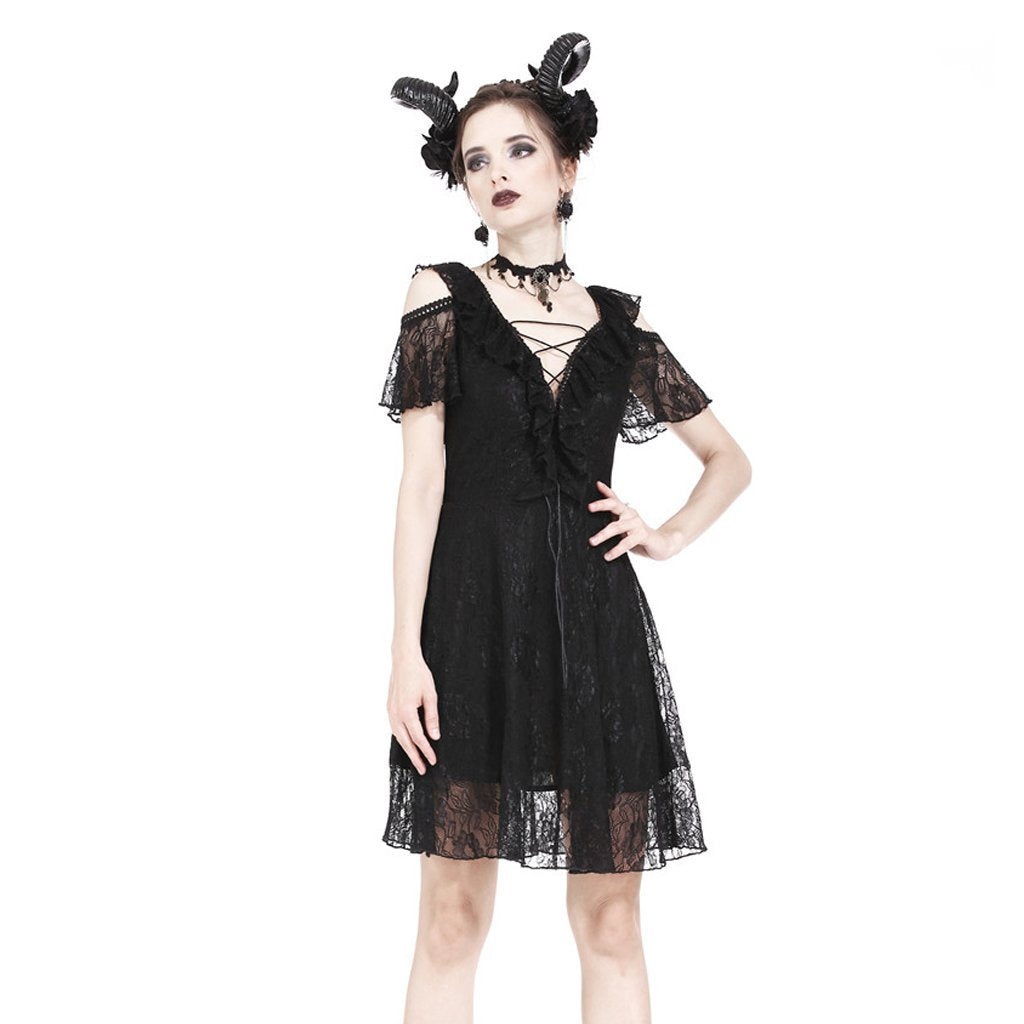 Women's Goth Lace Plunge V-neck Ruffle Mini Dress-Punk Design