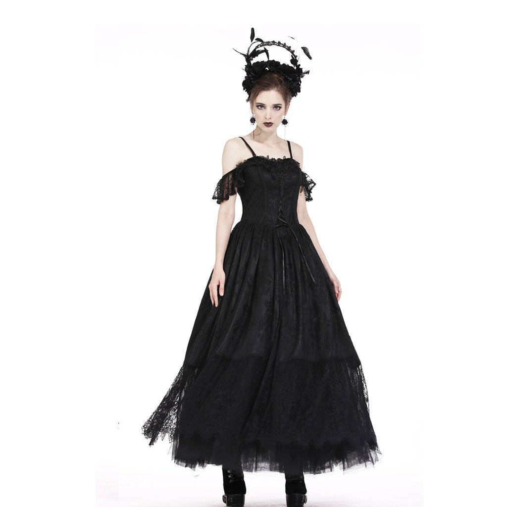Damen Goth Layered Princess Cut Lang geschnürtes Gown-Punk-Design