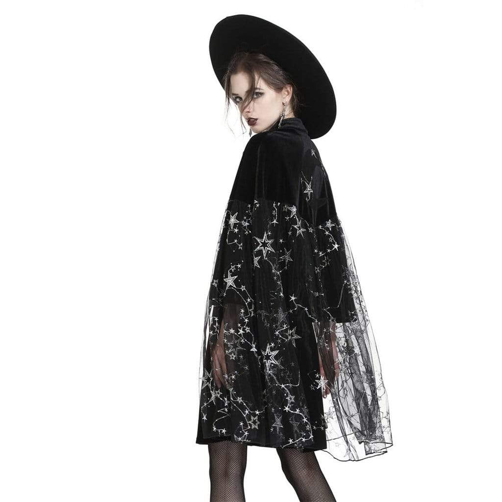 Darkinlove Women's Goth Moon & Star Cape