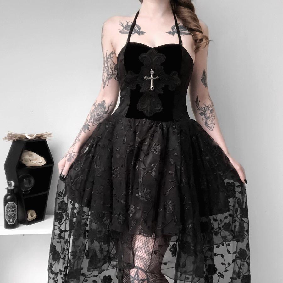 Women's Goth Multilayer Floral Black Lace Gown Dress-Punk Design