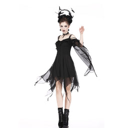 Women's Goth Off Shoulder Chiffon Party Dress With Sleeves-Punk Design