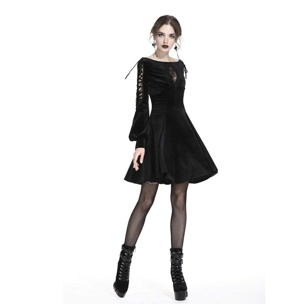 Darkinlove Women's Goth Short Dress With Net Inset