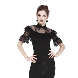 Women's Goth Stand Collar Floral Lace Tops-Punk Design