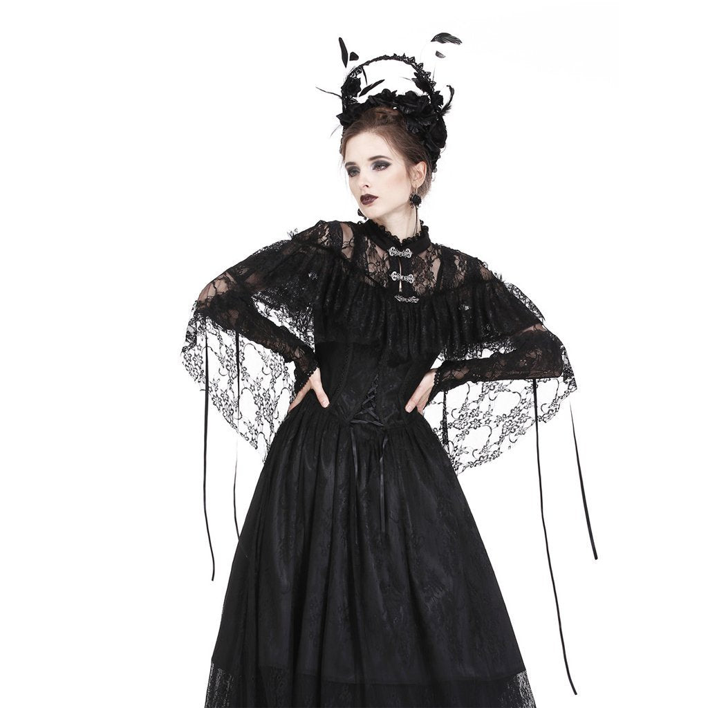 Goth Vintage Lace Sheer High-Low Cape-Punk Design para mujer