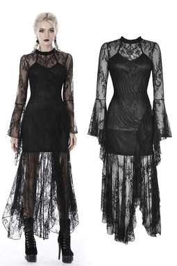 darkinlove Women's Gothic Full Lace Asymmetrical Long Dresses