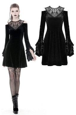 DARKINLOVE Women's Gothic Lace Collar Long Flare Sleeved Hollow Shoulder Velvet Dresses