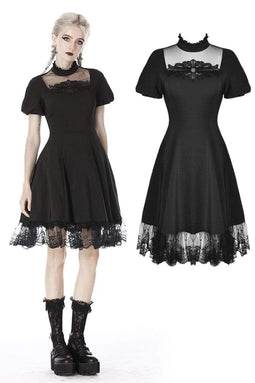 DARKINLOVE Women's Gothic Lolita Square Collar Short Sleeved Midi Dresses