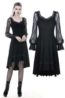 DARKINLOVE Women's Gothic Long Lace Lentern Sleeved Black Dresses