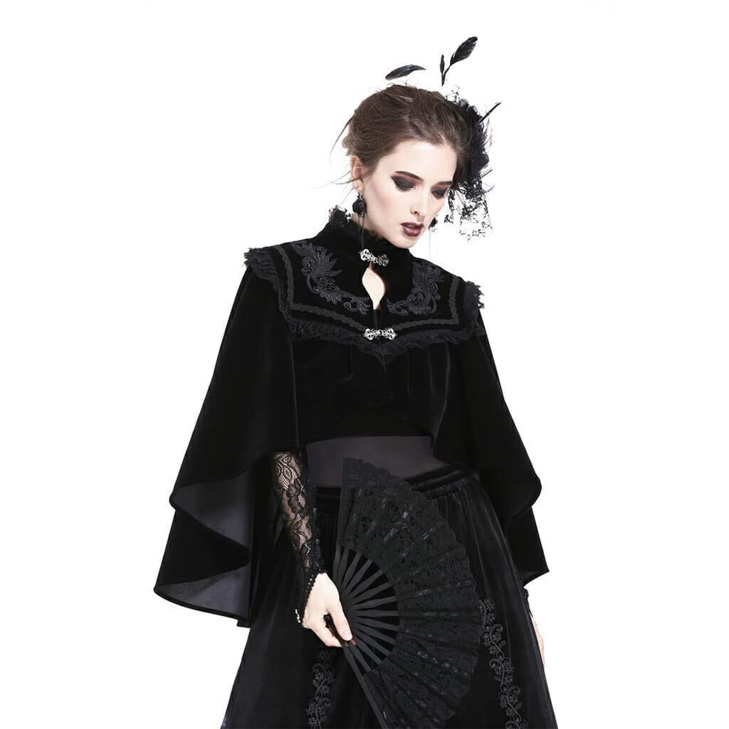 Damen High Neck Velours Goth Cape-Punk Design