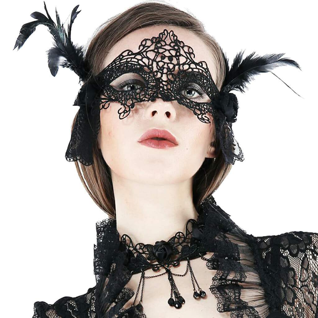 Women's Lace and Feather Eye Mask-Punk Design