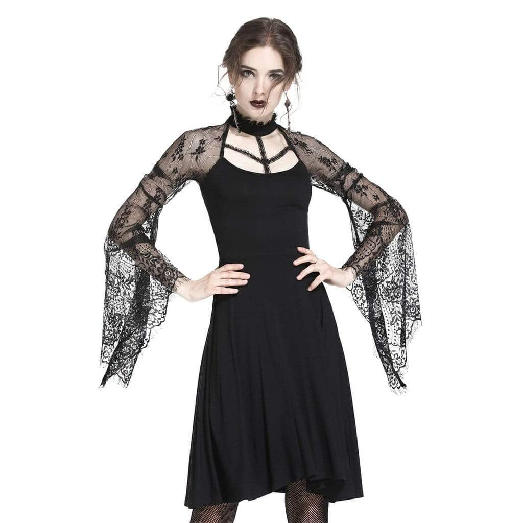Darkinlove Women's Lace Sleeved Goth Dress
