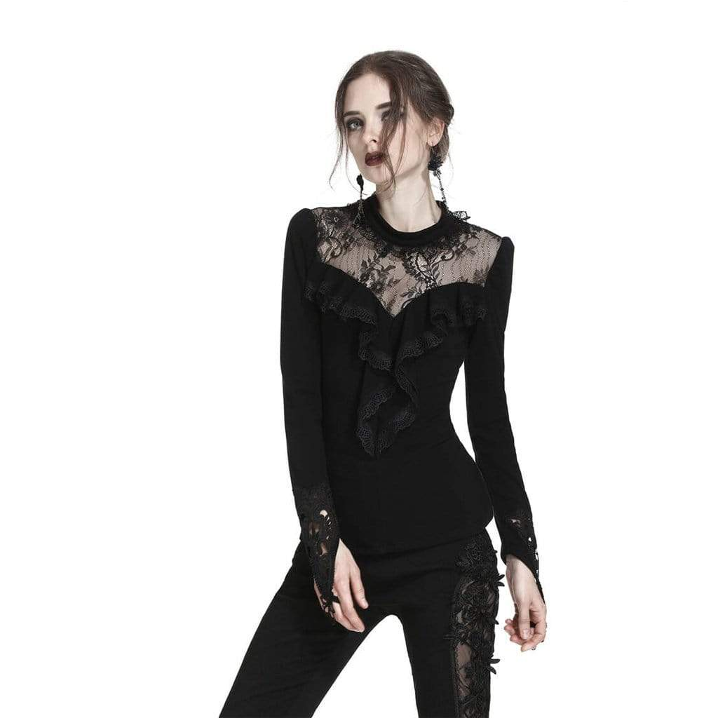Darkinlove Women's Lace Yoke Frilled Goth Top