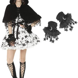 Darkinlove Women's Lolita Moon Long Gloves with Stars Tassels