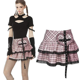 Darkinlove Damen Lolita Rock Heart Pink Plaid Miniröcke mit Spitzensaum