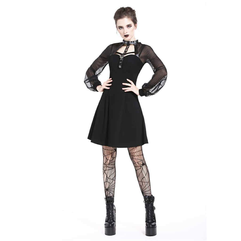 Frauen Mesh Sleeve Goth Shift Dress-Punk Design