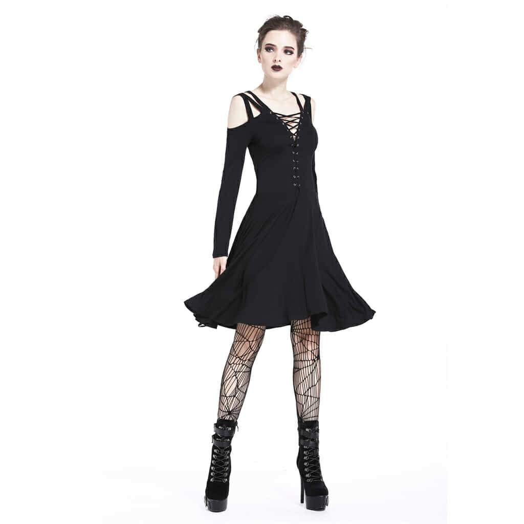 Damen Off Shoulder Full Sleeved Schwarz Goth Dress-Punk Design