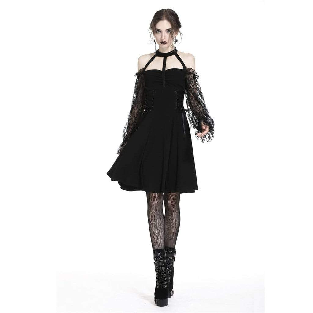 Darkinlove Women's Off shoulder Punk Dress With Lace Sleeves