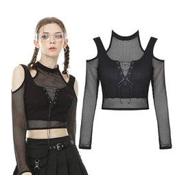 Darkinlove Frauen Punk Cutout Schulter Sheer Mesh Tops