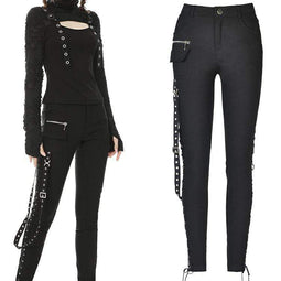 Darkinlove Women's Punk Locomotive Style Side Lacing Skinny Pants with Strap