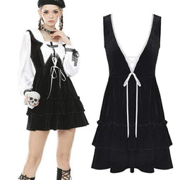 Darkinlove Femmes Punk Multilayer Velet Black Salopette Robes