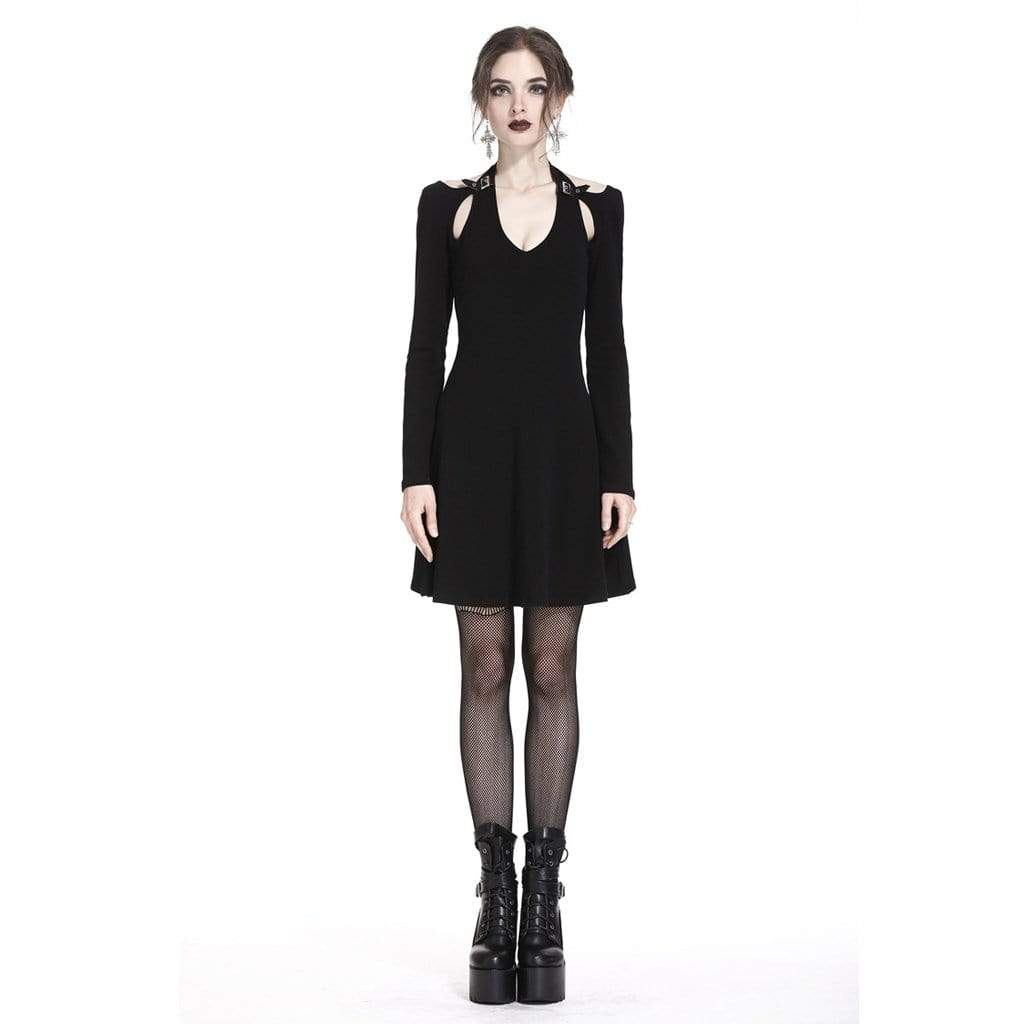 Darkinlove Women's Punk Short Dress With raglan Sleeves