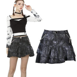 Darkinlove Women's Punk Tie-dye Double-layer Mini Skirts with Metal Chain