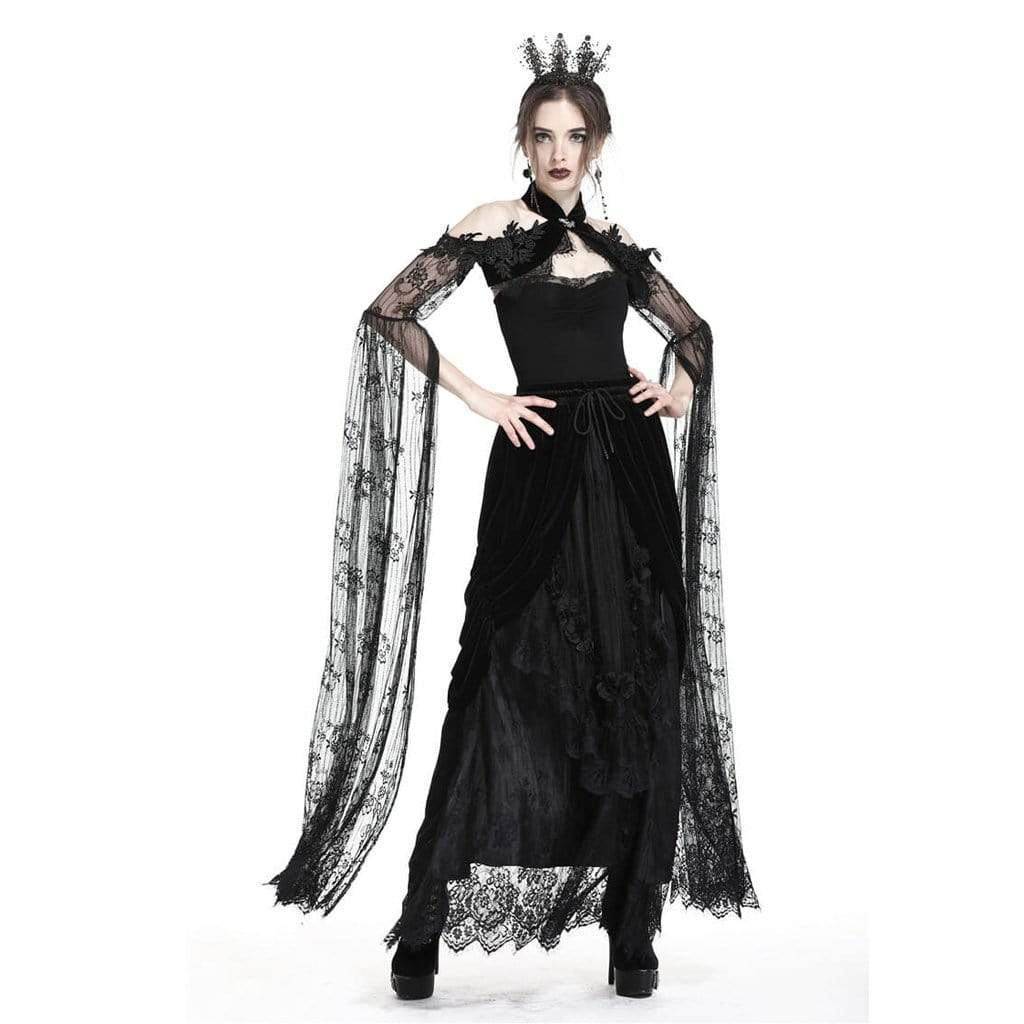 Darkinlove Women's Sheer Lace Goth Cape