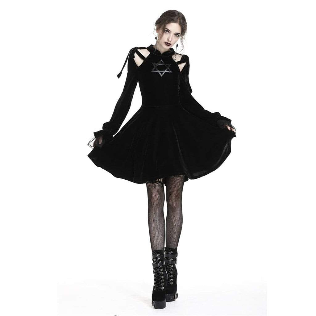 Darkinlove Damen Short Star Goth Kleid
