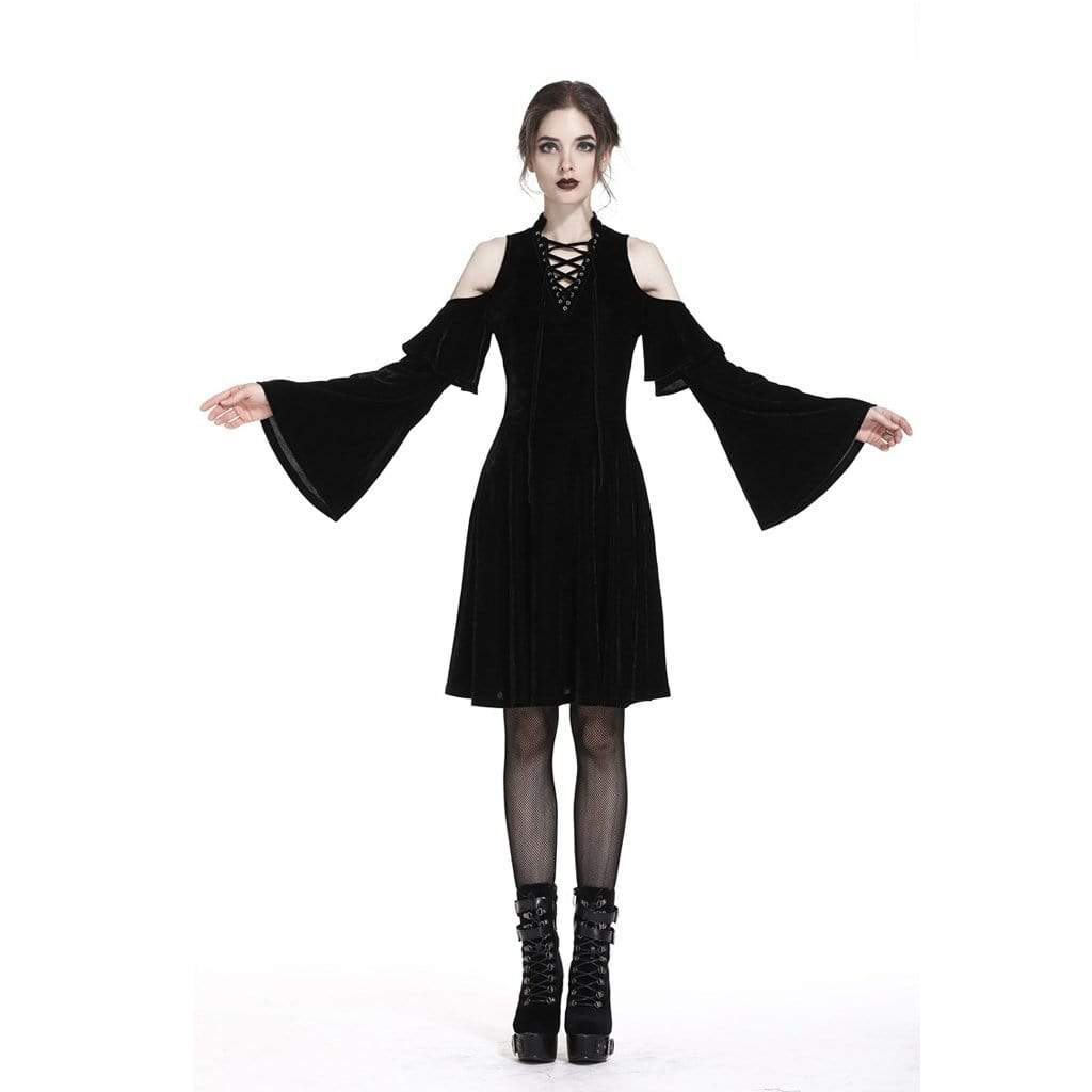 Darkinlove Women's Short Velour Goth Punk Dress with Trumpet Sleeves