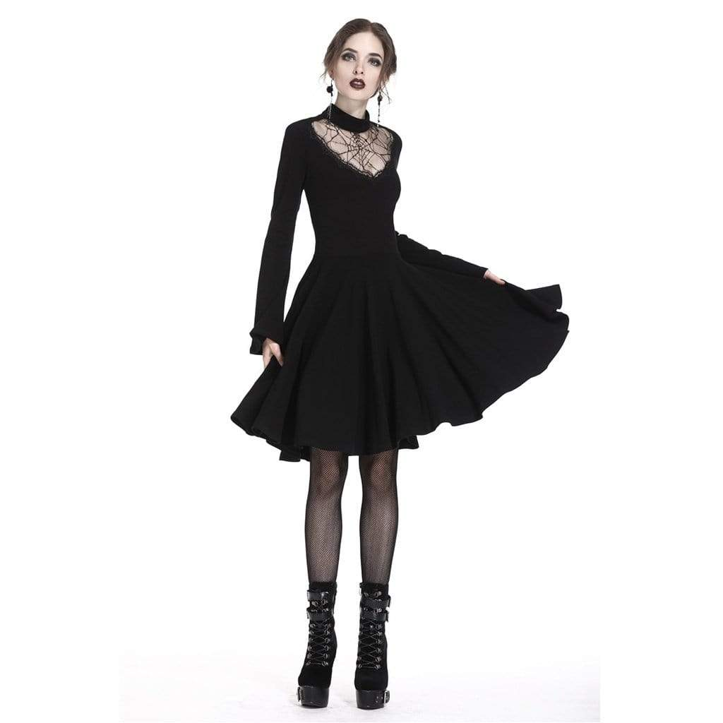 Darkinlove Women's Spider's Web Goth Short Dress