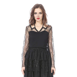Damen Spinnennetz Spitze Goth Top-Punk Design