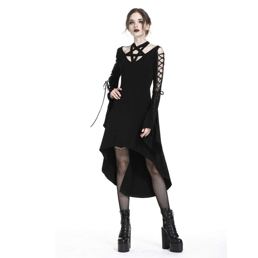 Darkinlove Damen Star Goth Asymmetrisches Kleid