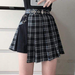 Darkinlove Women's Tartan Pleated Punk Skirt