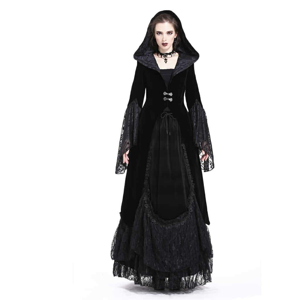 Damen Velour Hooded Goth Coat-Punk Design