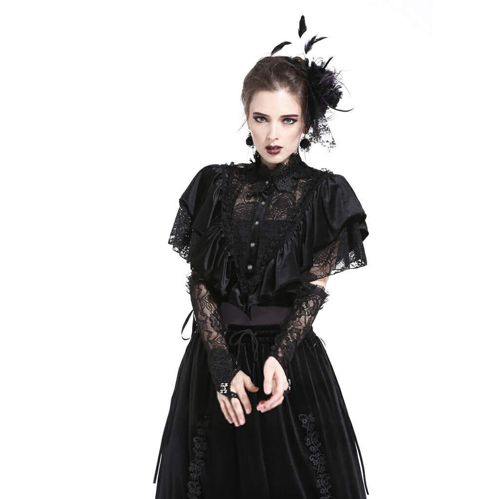 Damen Velour & Lace Goth Cape-Punk Design