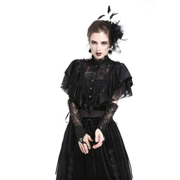 Women's Velour & Lace Goth Cape-Punk Design