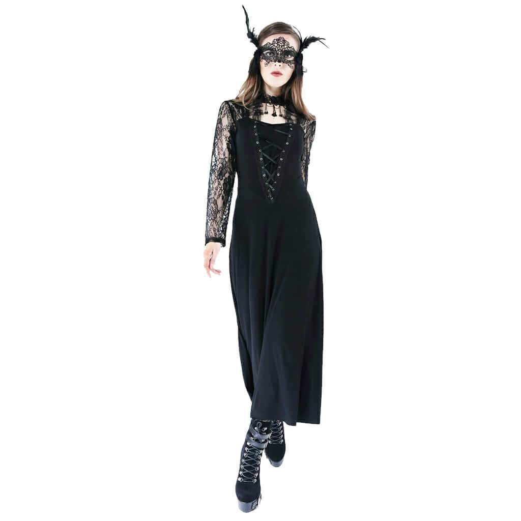 Women's Vintage Goth Midi Dress-Punk Design