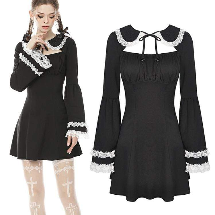 Darkinlove Femmes Vintage Puff Sleeves Black Little Dresses Robes de chambre