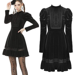 Darkinlove Femme Vintage Ruffles Puff Sleeve Velet Black Little Dress