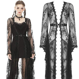 Darkinlove Women's Vintage Sheer Floral Lace Maxi Cape with Belts
