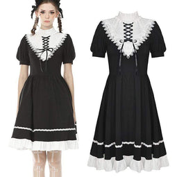 Darkinlove Women's Vintage Stand Collar Lacing Ruffles Princess Dresses