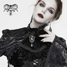 DEVIL FASHION Gothic Jacquard Feather Strass Velet Krawatten