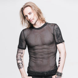 Men's All mesh Short Sleeve Punk T-Shirt - PunkDesign